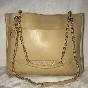 Auth CHANEL Lambskin Quilted Meditation GST Tote